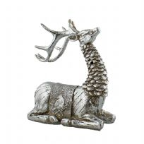 Hand Painted Rustic Silver Effect Sitting Reindeer Freestanding Christmas Ornament